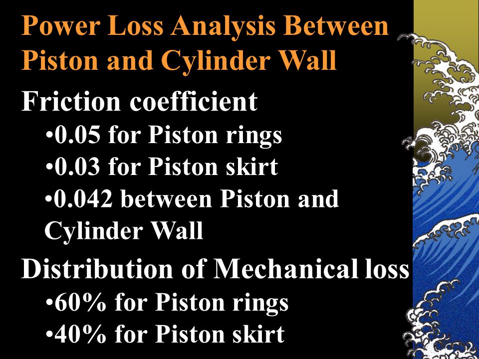 Power Loss Analysis Between Piston and Cylinder Wall Friction coefficient 0.05 for Piston rings 0.03 for Piston skirt Distribution of Mechanical loss 60% for Piston rings 40% for Piston skirt 0.042 between Piston and Cylinder Wall