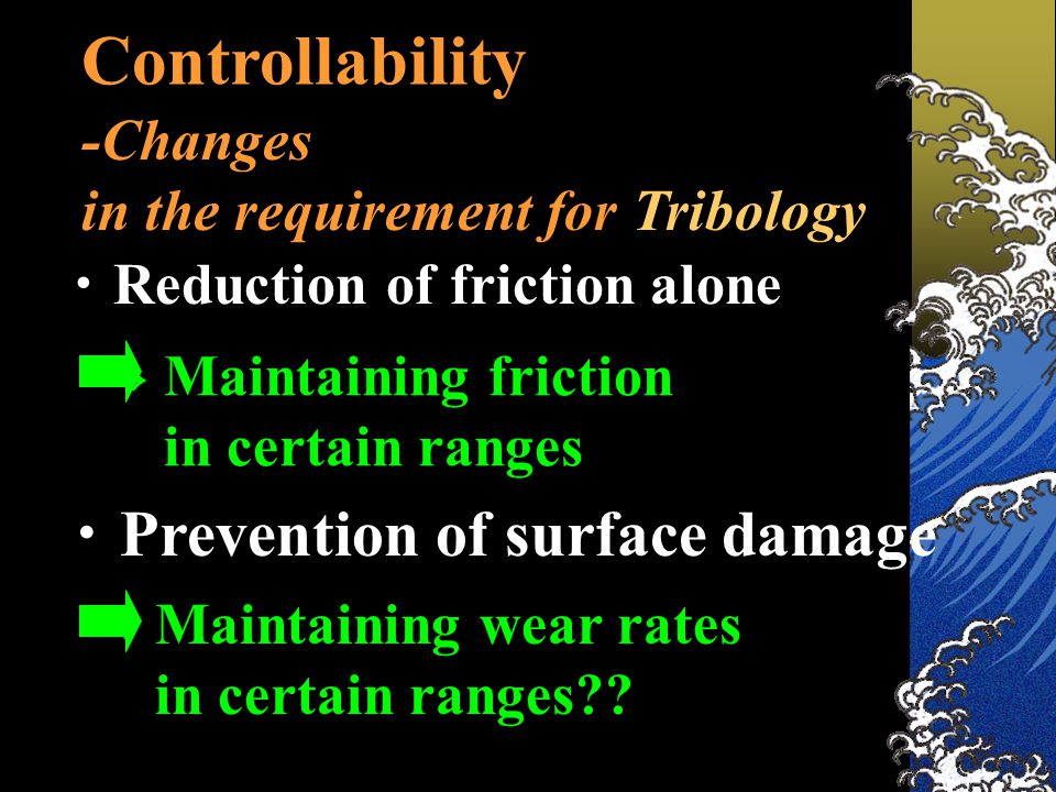 Controllability -Changes in the requirement for Tribology ・ Reduction of friction alone ・ Prevention of surface damage → Maintaining friction in certain ranges → Maintaining wear rates in certain ranges??