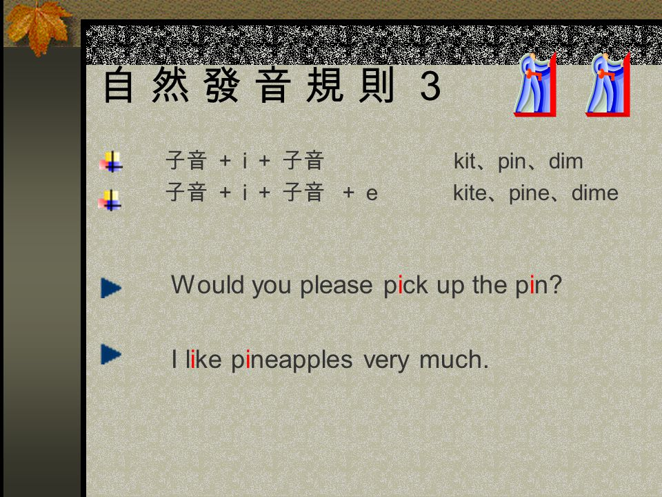 自 然 發 音 規 則 3 子音 + i + 子音 kit 、 pin 、 dim 子音 + i + 子音 + e kite 、 pine 、 dime Would you please pick up the pin.