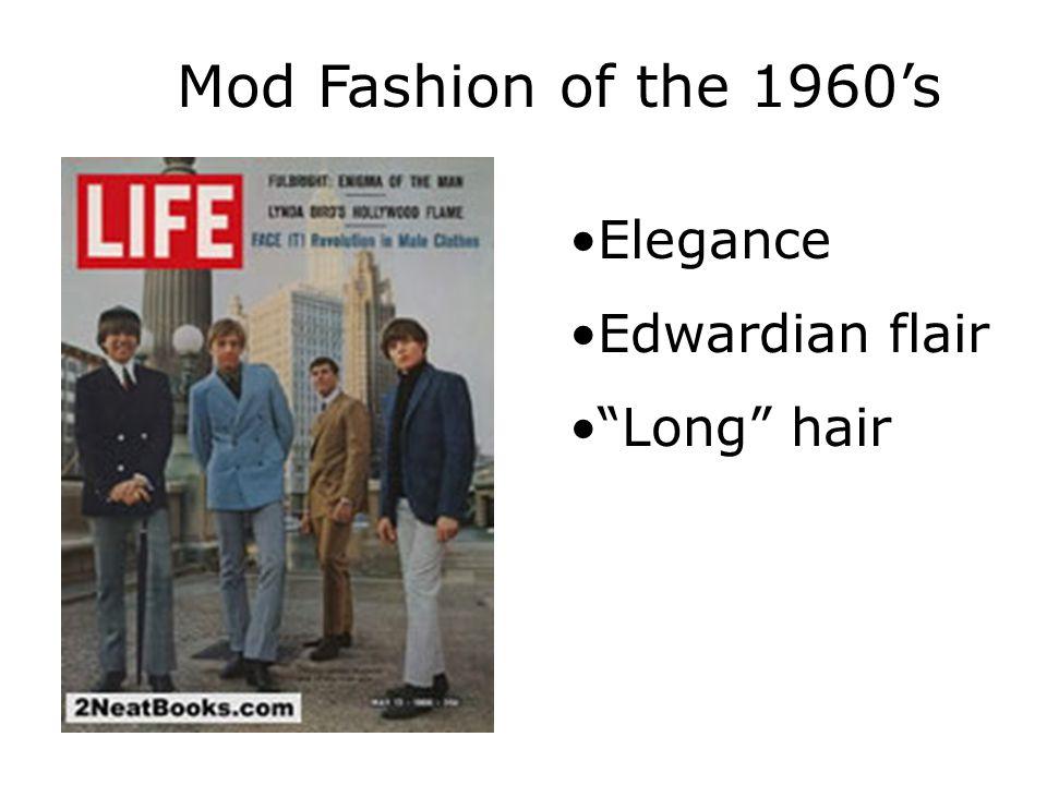 "Mod Fashion of the 1960's Elegance Edwardian flair ""Long"" hair"