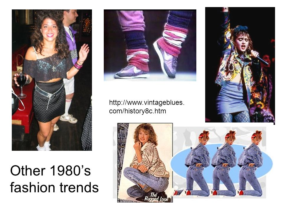 http://www.vintageblues. com/history8c.htm Other 1980's fashion trends