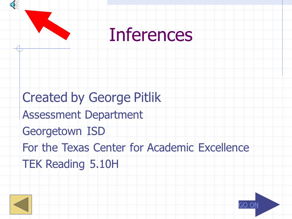 Inferences Created by George Pitlik Assessment Department Georgetown ISD For the Texas Center for Academic Excellence TEK Reading 5.10H