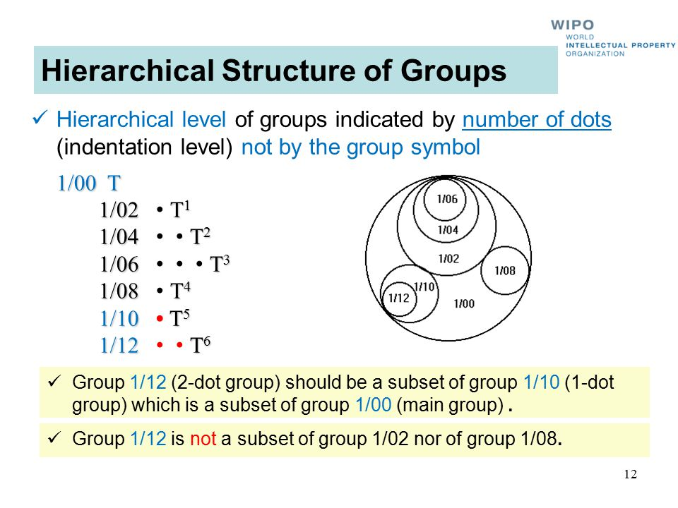 12 Hierarchical Structure of Groups Hierarchical level of groups indicated by number of dots (indentation level) not by the group symbol 1/00 T 1/02 T 1 1/04 T 2 1/06 T 3 1/08 T 4 1/10 T 5 1/12 T 6 Group 1/12 (2-dot group) should be a subset of group 1/10 (1-dot group) which is a subset of group 1/00 (main group).