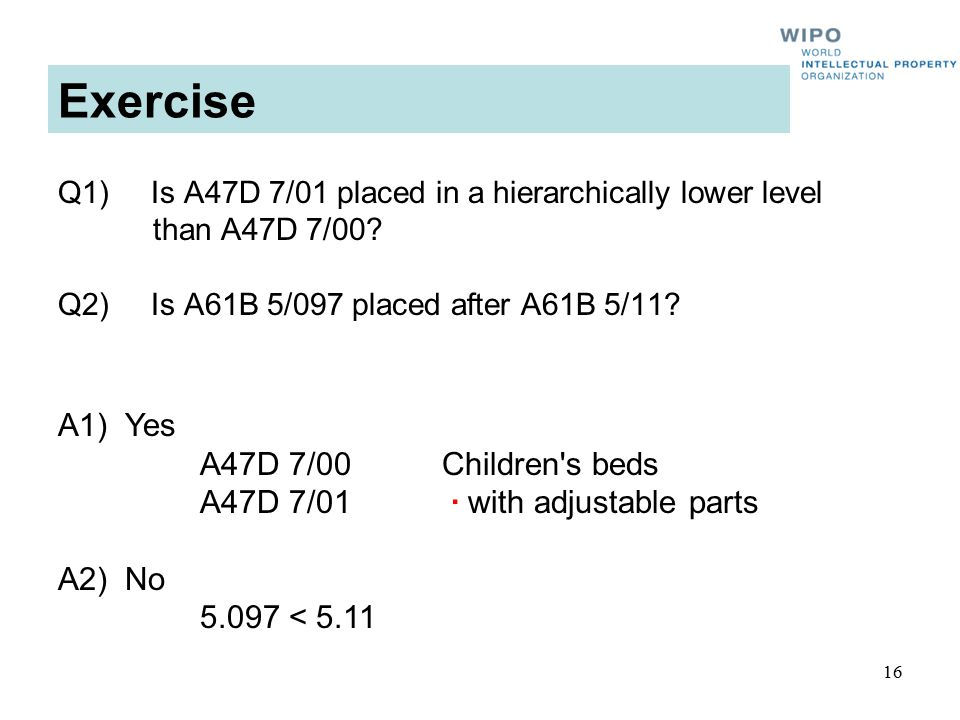 16 Exercise Q1) Is A47D 7/01 placed in a hierarchically lower level than A47D 7/00.