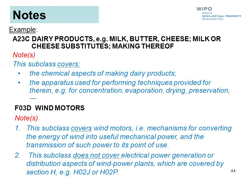 44 Notes A23C DAIRY PRODUCTS, e.g.