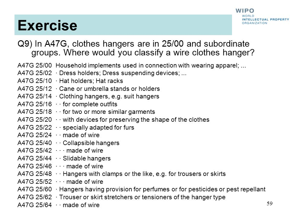 59 Exercise Q9) In A47G, clothes hangers are in 25/00 and subordinate groups.