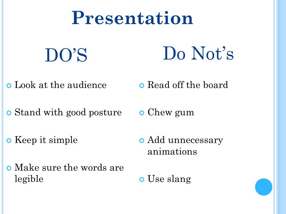 DO'S Look at the audience Stand with good posture Keep it simple Make sure the words are legible Do Not's Presentation Read off the board Chew gum Add unnecessary animations Use slang