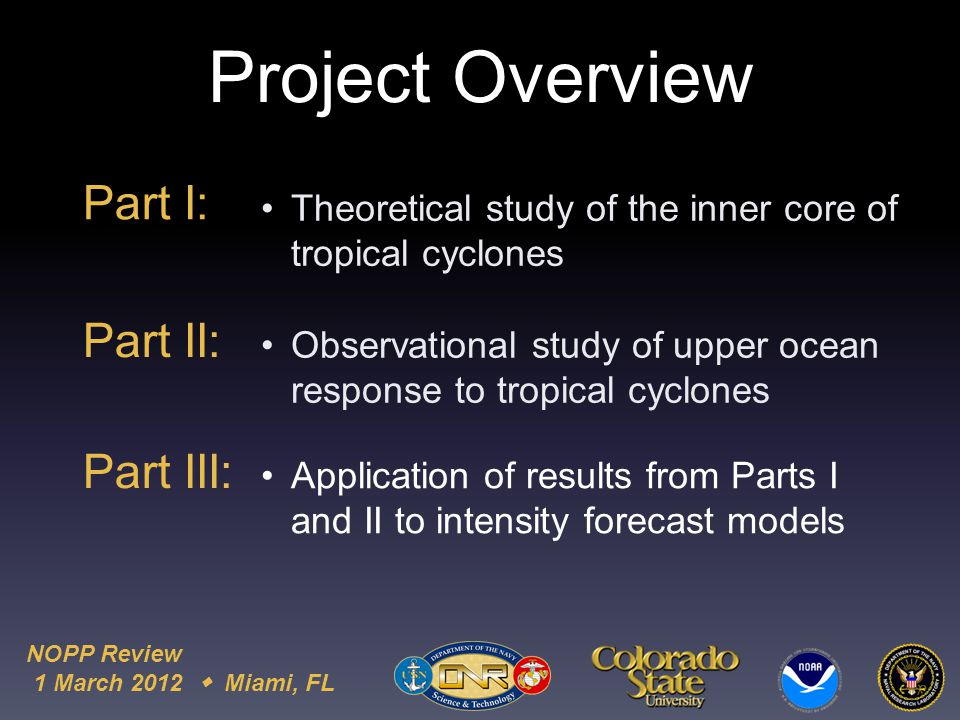 NOPP Review 1 March 2012  Miami, FL Project Overview Part I: Theoretical study of the inner core of tropical cyclones Observational study of upper ocean response to tropical cyclones Application of results from Parts I and II to intensity forecast models Part II: Part III: