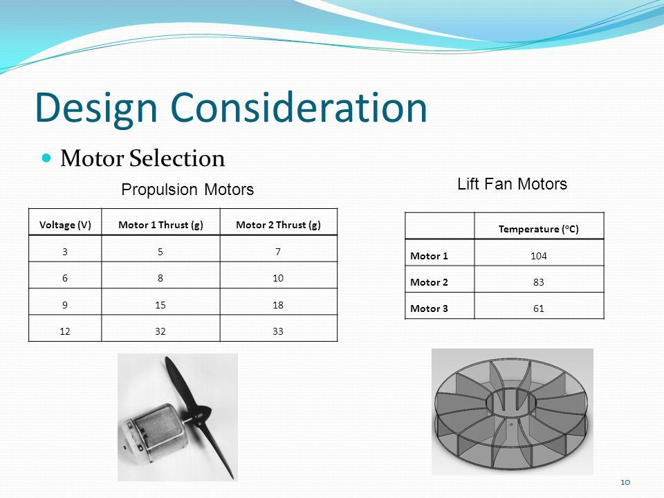 Design Consideration 10 Motor Selection Propulsion Motors Voltage (V)Motor 1 Thrust (g)Motor 2 Thrust (g) 357 6810 91518 123233 Lift Fan Motors Temperature ( o C) Motor 1104 Motor 283 Motor 361