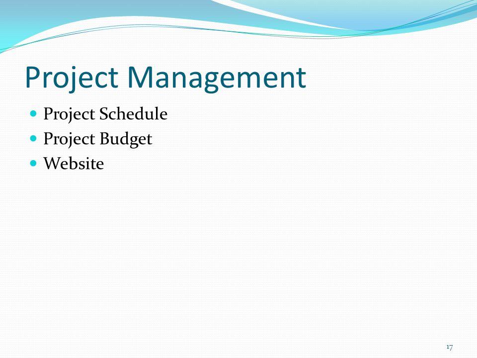 Project Management Project Schedule Project Budget Website 17