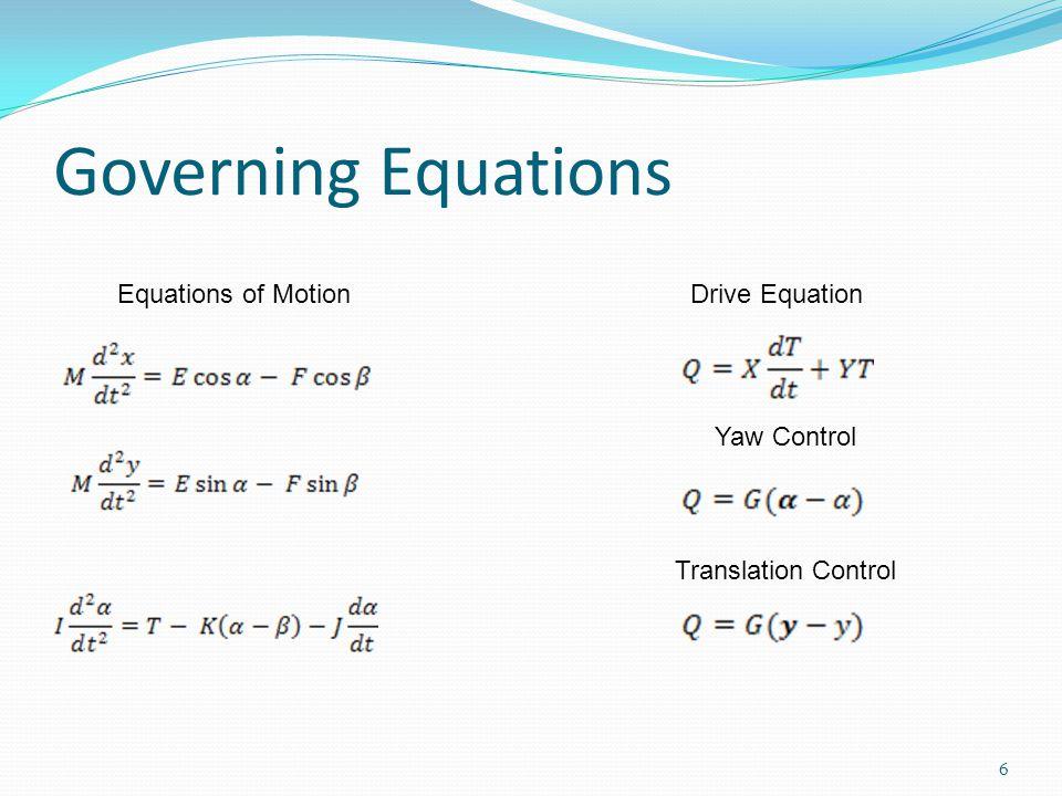 Governing Equations 6 Equations of MotionDrive Equation Yaw Control Translation Control