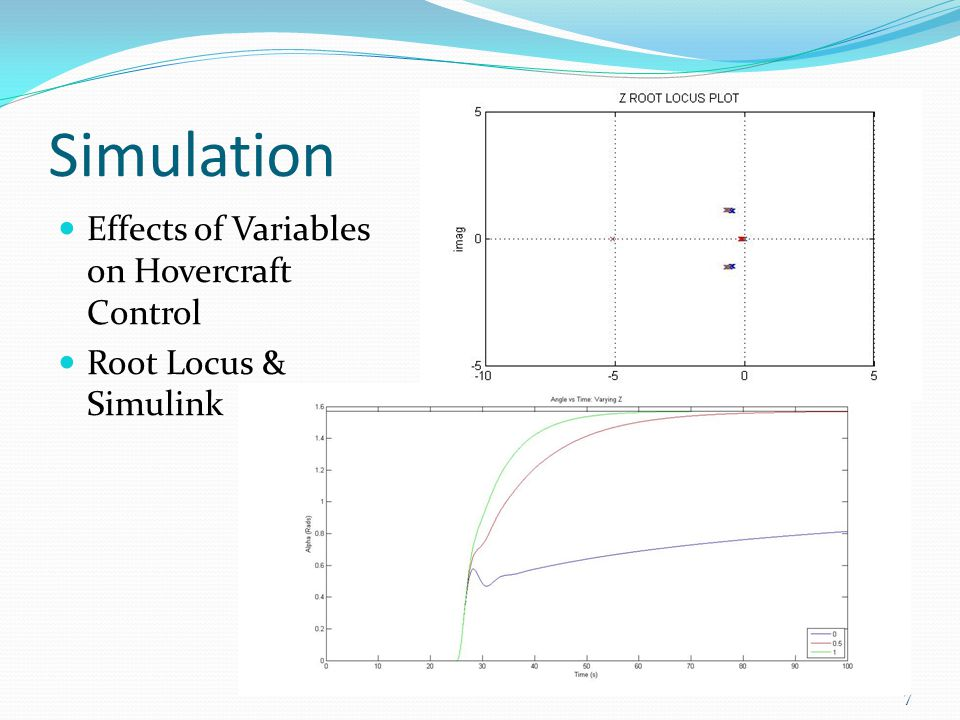 Simulation Effects of Variables on Hovercraft Control Root Locus & Simulink 7