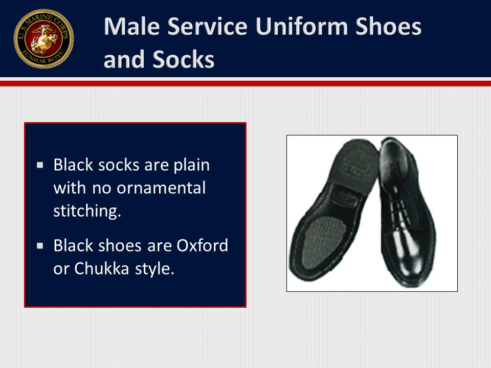  Black socks are plain with no ornamental stitching.  Black shoes are Oxford or Chukka style.