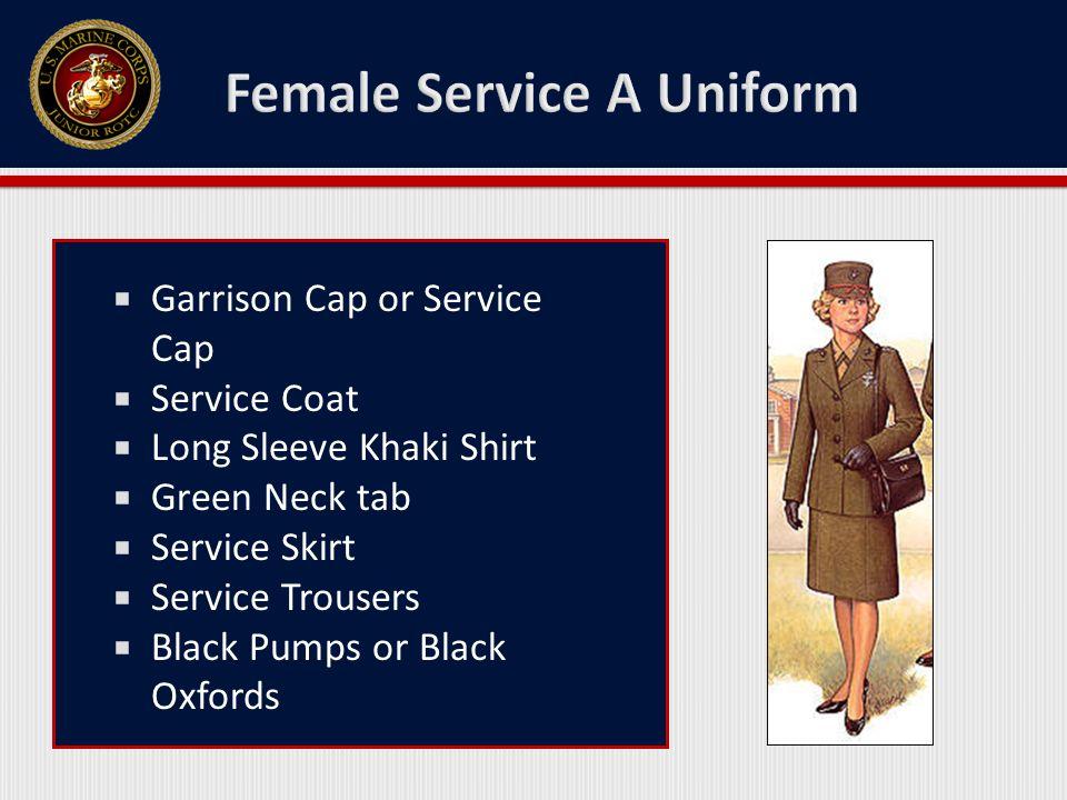  Garrison / Service Cap  Coat  Long Sleeve Khaki Shirt  Necktie w/ Tie Clasp  Trousers  Belt w/ Buckle  Black Socks & Black Shoes