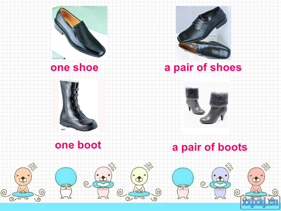 one shoea pair of shoes one boot a pair of boots