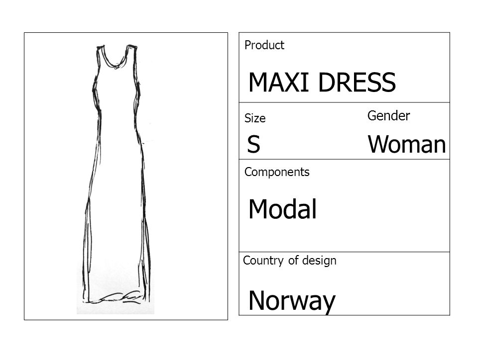 Product MAXI DRESS Size Gender SWoman Components Modal Country of design Norway