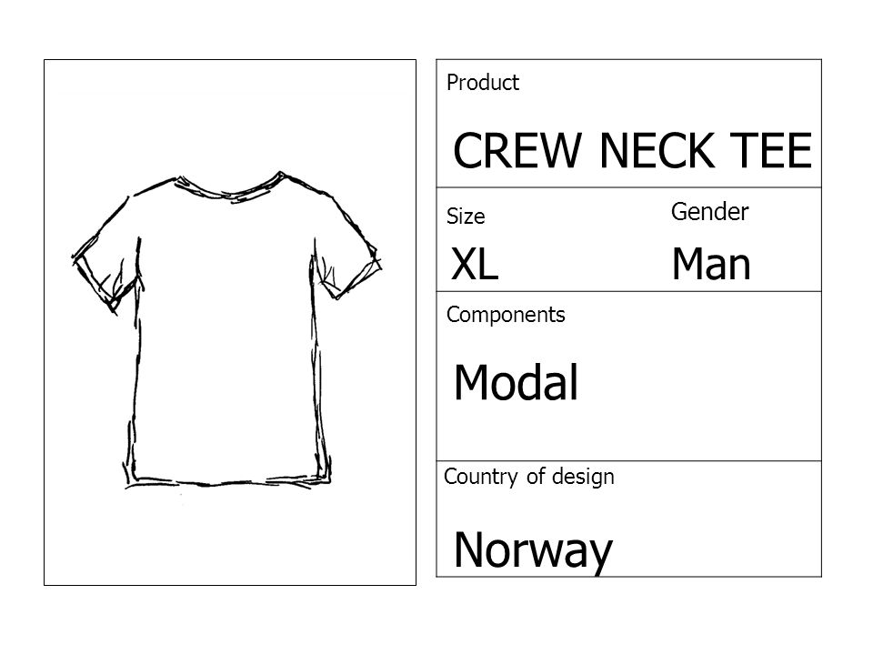Product CREW NECK TEE Size Gender XLMan Components Modal Country of design Norway