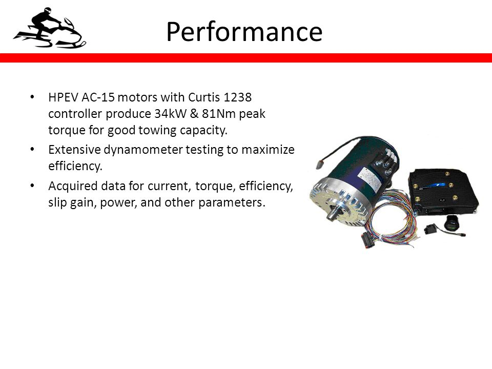HPEV AC-15 motors with Curtis 1238 controller produce 34kW & 81Nm peak torque for good towing capacity.