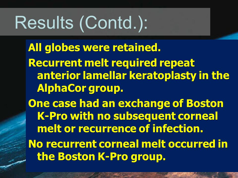 Results (Contd.): All globes were retained.