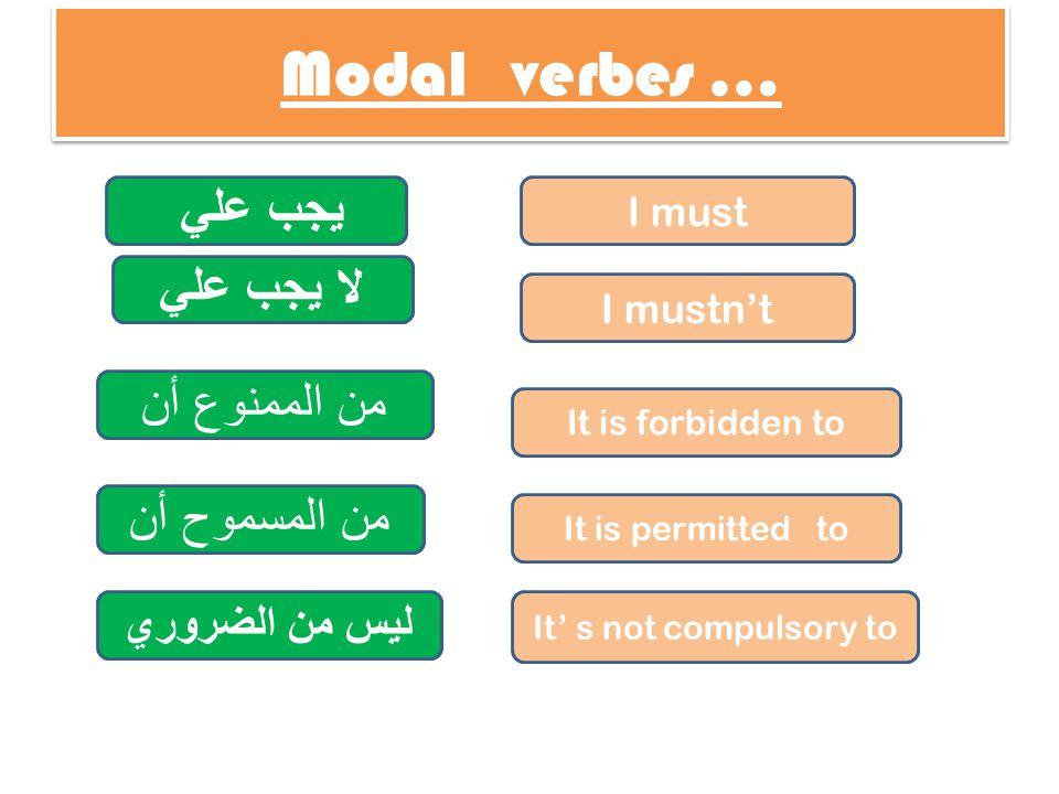 Modal verbes … يجب علي لا يجب علي I must I mustn't من الممنوع أن It is forbidden to من المسموح أن It is permitted to ليس من الضروري It' s not compulso