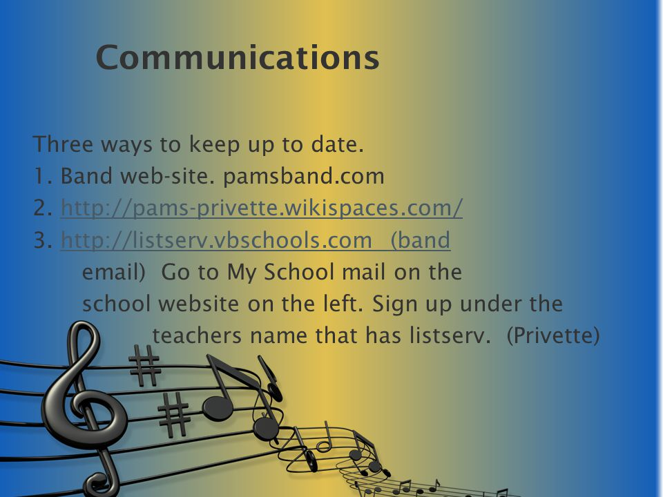 Materials for Class Sixth Grade Band Standards of Excellence Book 1 Essentials Music Theory book-1 Do not buy Theory book- Seventh Grade Band Standards of Excellence Book 2 Essentials Music Theory book-2 Do not buy Theory Book