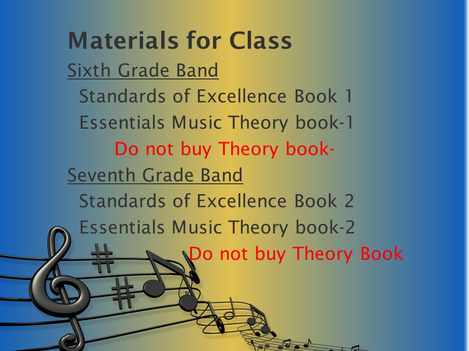 Materials for Class Sixth Grade Band Standards of Excellence Book 1 Essentials Music Theory book-1 Do not buy Theory book- Seventh Grade Band Standard