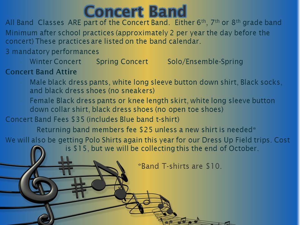Sign up for Parent Portal /List Serve Keep your email address current with band Check band website (pamsband.com) Will be setting up a Weebly page, watch for it soon.