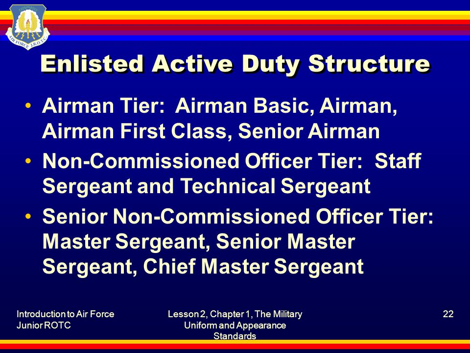 Enlisted Active Duty Structure Airman Tier: Airman Basic, Airman, Airman First Class, Senior Airman Non-Commissioned Officer Tier: Staff Sergeant and