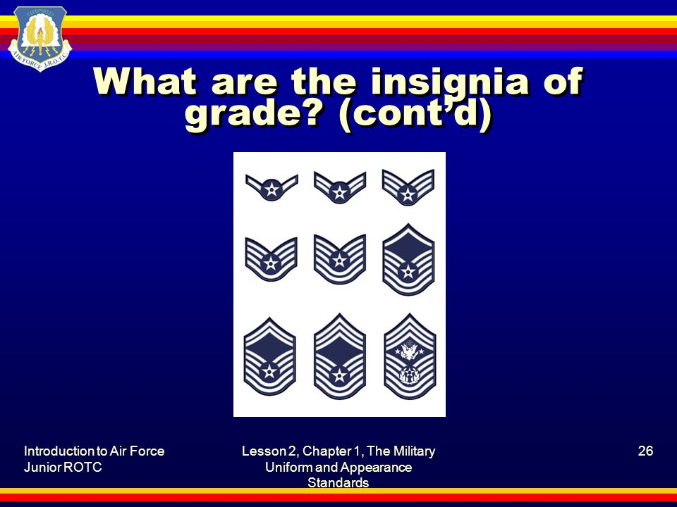 Introduction to Air Force Junior ROTC Lesson 2, Chapter 1, The Military Uniform and Appearance Standards 26 What are the insignia of grade.