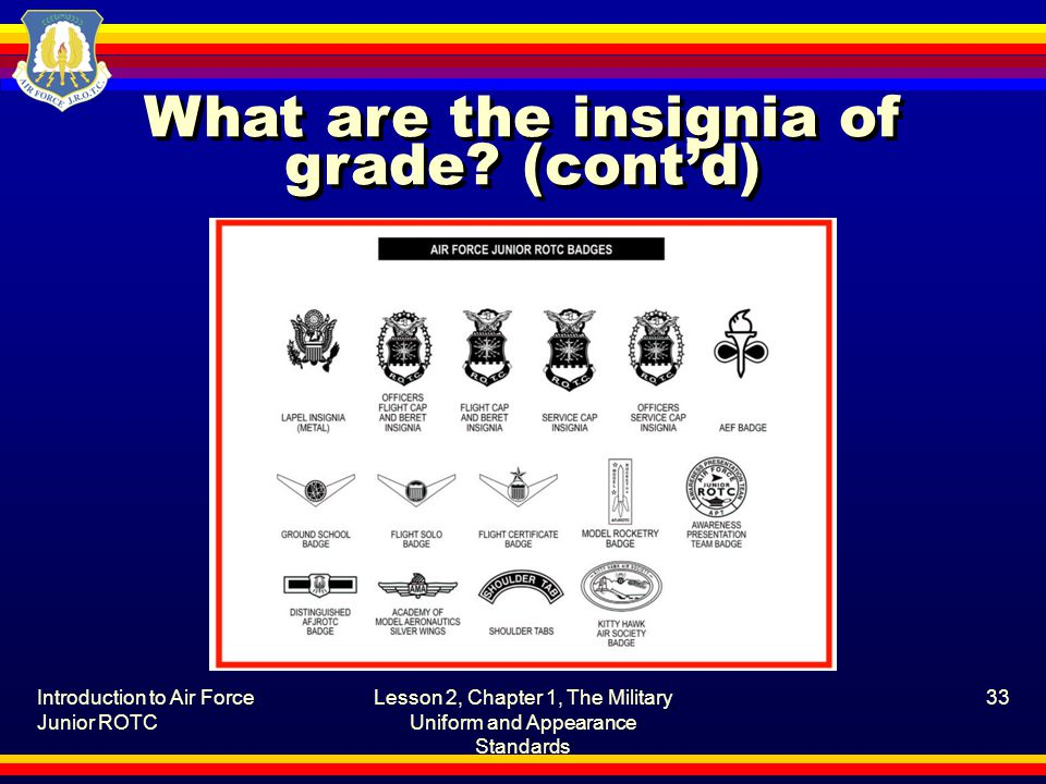 Introduction to Air Force Junior ROTC Lesson 2, Chapter 1, The Military Uniform and Appearance Standards 33 What are the insignia of grade.