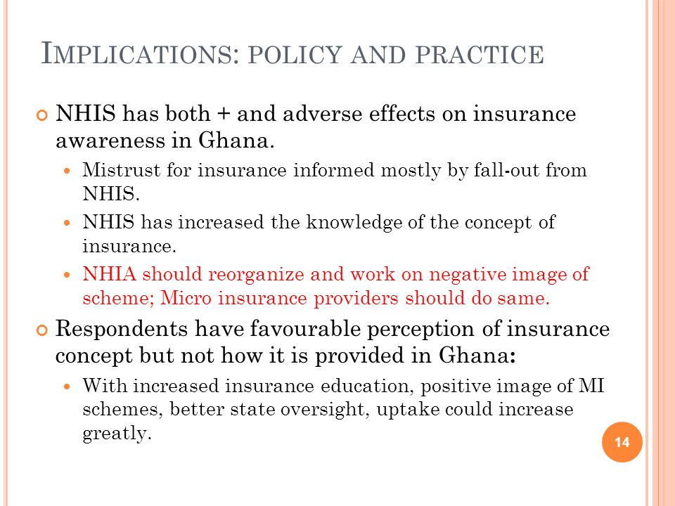 I MPLICATIONS : POLICY AND PRACTICE NHIS has both + and adverse effects on insurance awareness in Ghana.