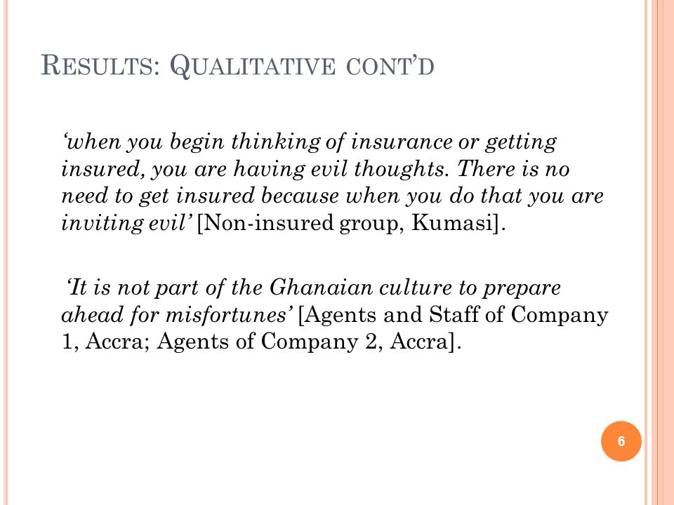 R ESULTS : Q UALITATIVE CONT ' D 'when you begin thinking of insurance or getting insured, you are having evil thoughts. There is no need to get insur