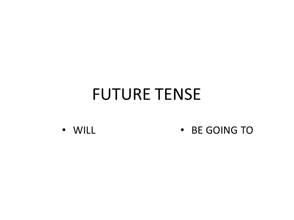 FUTURE TENSE WILL BE GOING TO