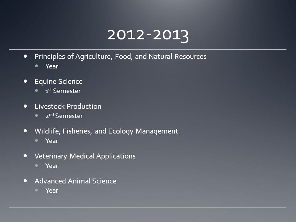 2012-2013 Principles of Agriculture, Food, and Natural Resources Year Equine Science 1 st Semester Livestock Production 2 nd Semester Wildlife, Fisher