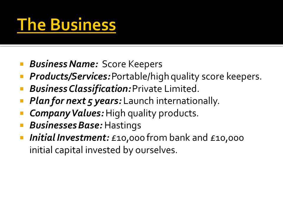  Business Name: Score Keepers  Products/Services: Portable/high quality score keepers.