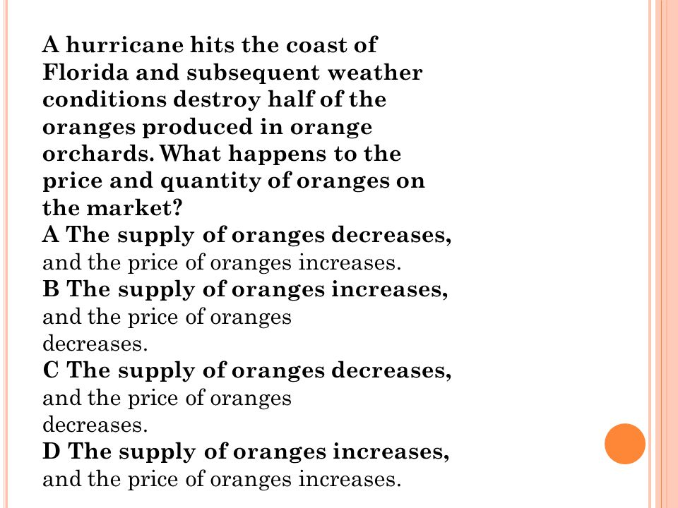 A hurricane hits the coast of Florida and subsequent weather conditions destroy half of the oranges produced in orange orchards. What happens to the p