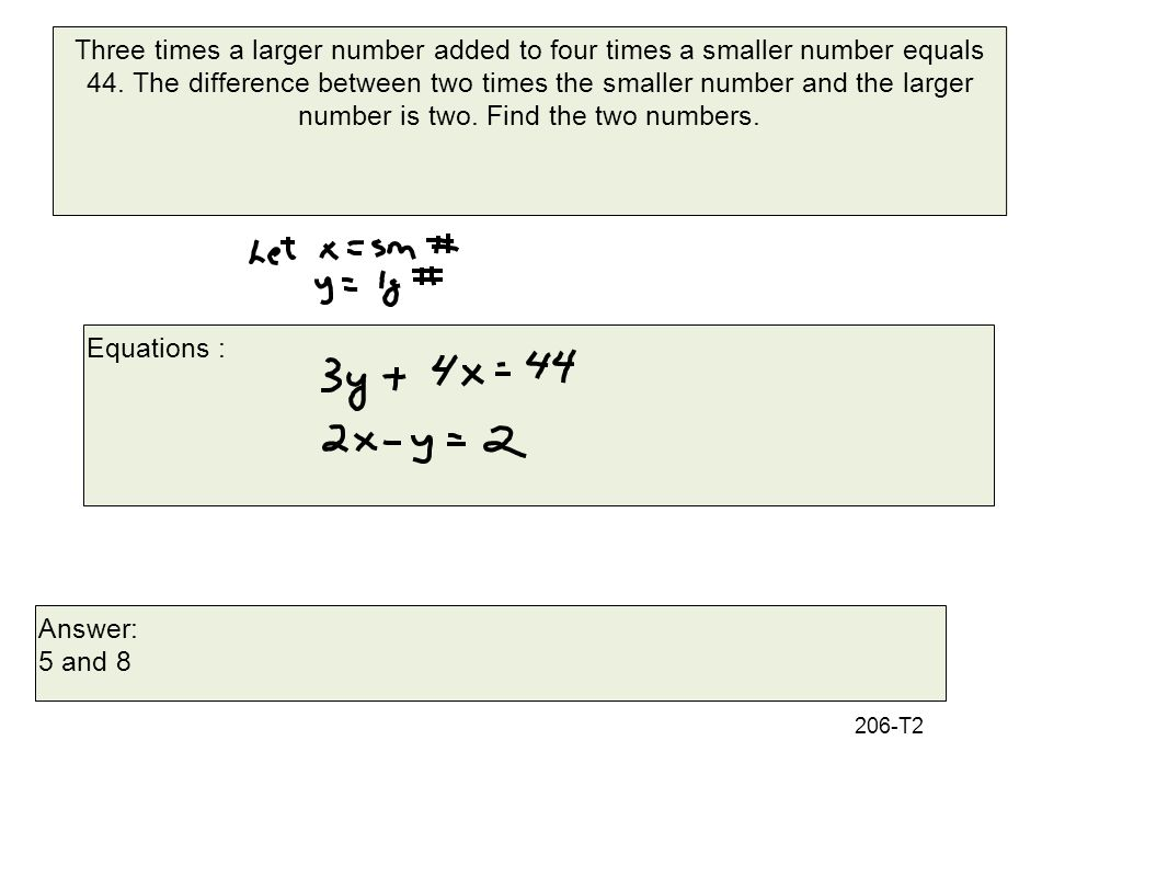 Three times a larger number added to four times a smaller number equals 44.