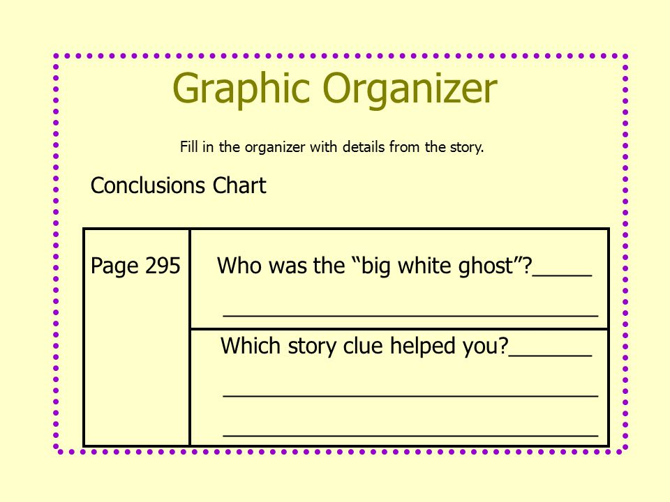 Fill in the organizer with details from the story.