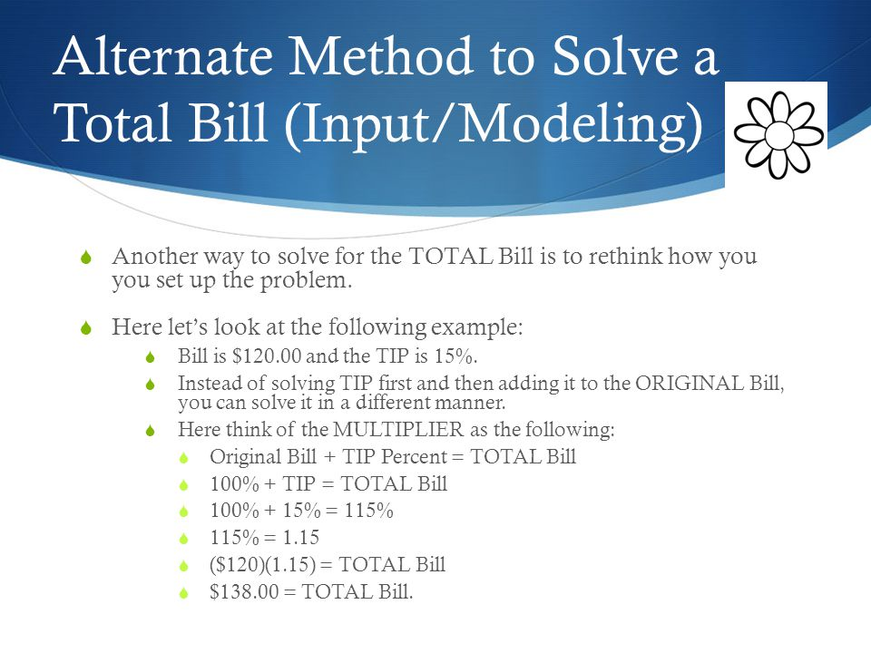 Calculating the Total Bill (Input/Modeling)  Example: Mr.