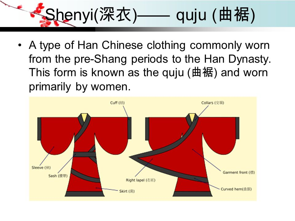Shenyi( 深衣 )—— quju ( 曲裾 ) A type of Han Chinese clothing commonly worn from the pre-Shang periods to the Han Dynasty. This form is known as the quju