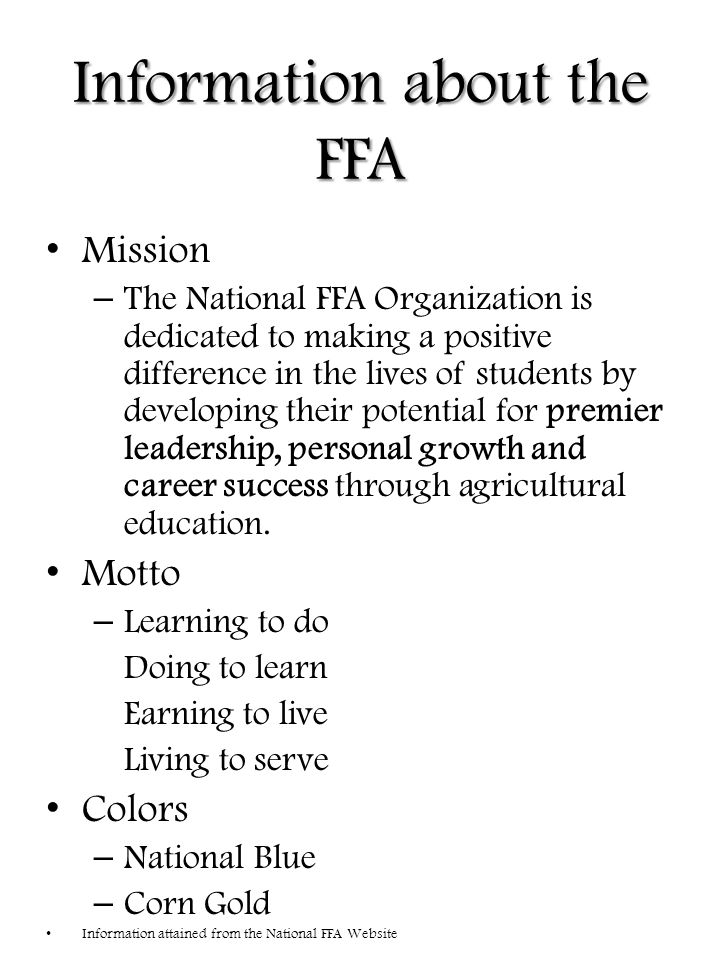 FFA Creed I believe in the future of agriculture, with a faith born not of words but of deeds - achievements won by the present and past generations of agriculturists; in the promise of better days through better ways, even as the better things we now enjoy have come to us from the struggles of former years.