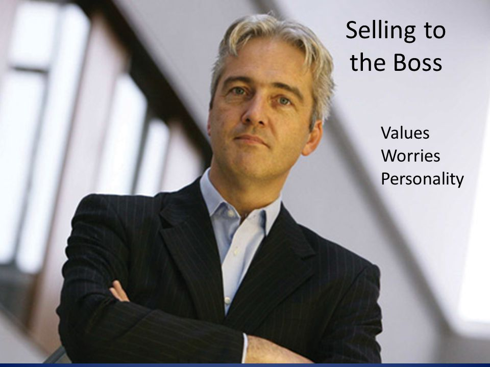 Selling to the Boss Values Worries Personality