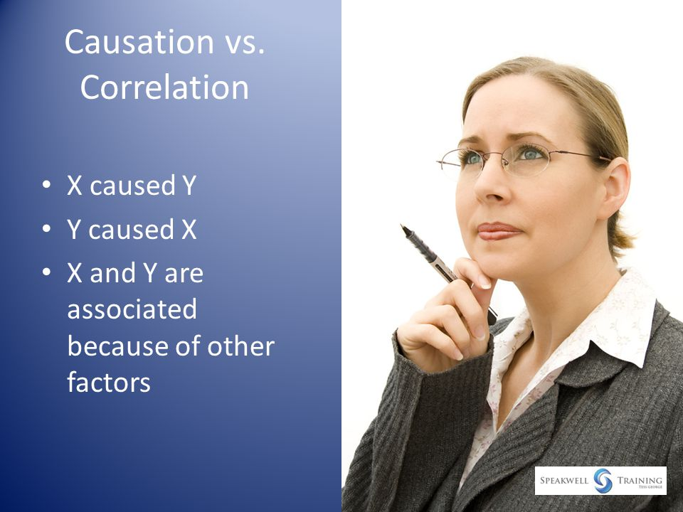 Causation vs. Correlation X caused Y Y caused X X and Y are associated because of other factors