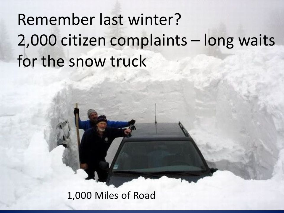 Remember last winter 2,000 citizen complaints – long waits for the snow truck 1,000 Miles of Road