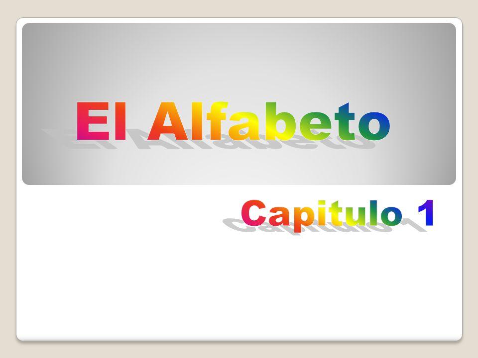 El alfabeto a (a) b (be) c (ce) *ch (che) d (de) e (e) f (efe) g (ge) h (hache) i (i) j (jota) k (ka) l (ele) *ll (elle) m (eme) n (ene) ñ (eñe) o (o) p (pe) q (cu) r (ere) *rr (erre) s (ese) t (te) u (u) v (ve) w (doble uve/ ve ) x (equis) y (i griega) z (zeta) (uve doble) * sounds not letters