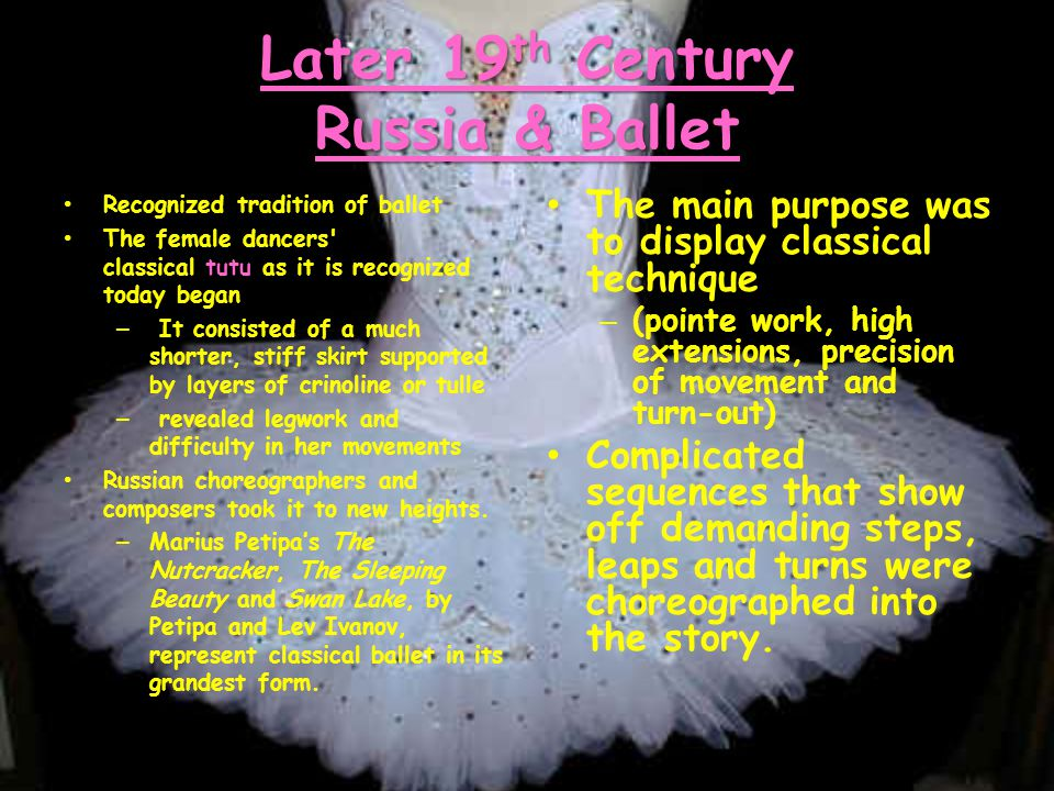20 th Century Ballet Ballet Russes brought Ballet back to Paris Russian choreographers experimented with movement and costume, moving beyond the confines of classical ballet form and story.
