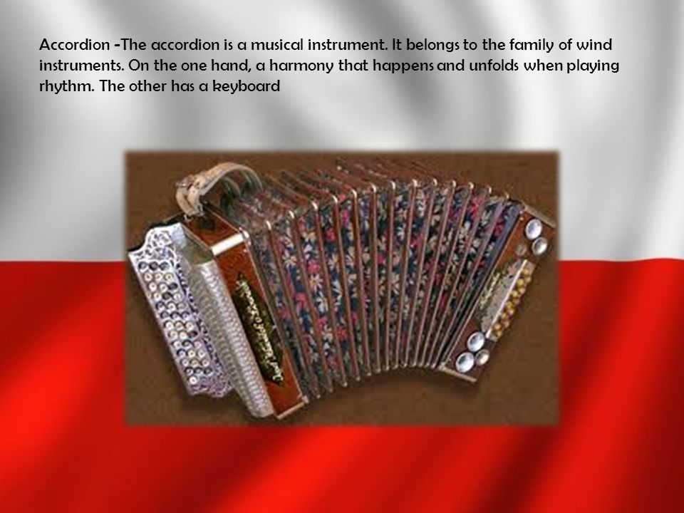 Accordion -The accordion is a musical instrument. It belongs to the family of wind instruments. On the one hand, a harmony that happens and unfolds wh