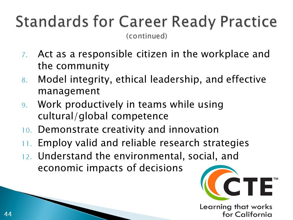 7. Act as a responsible citizen in the workplace and the community 8.