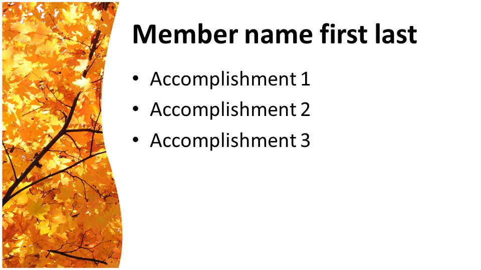 Member name first last Accomplishment 1 Accomplishment 2 Accomplishment 3