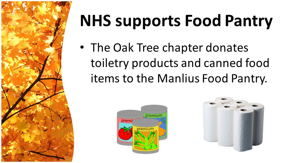 NHS supports Food Pantry The Oak Tree chapter donates toiletry products and canned food items to the Manlius Food Pantry.